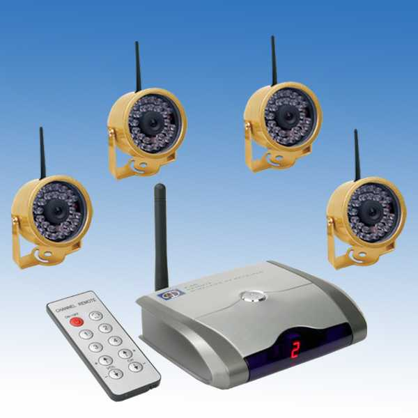 rocky americas products wired wireless surveillance security 2 4 ghz wireless wired dual mode color infrared night vision weather poof 4 camera one auto switching reciver kit 802c4 rc420 more info